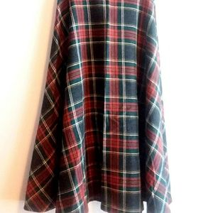 Vintage Red Plaid Maxi A Line Skirt Size XS